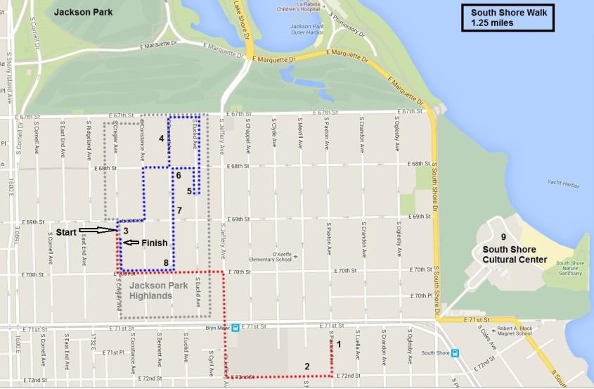 South Shore Walk map