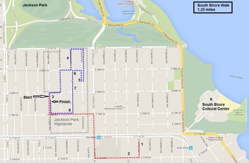 South Shore Walk map